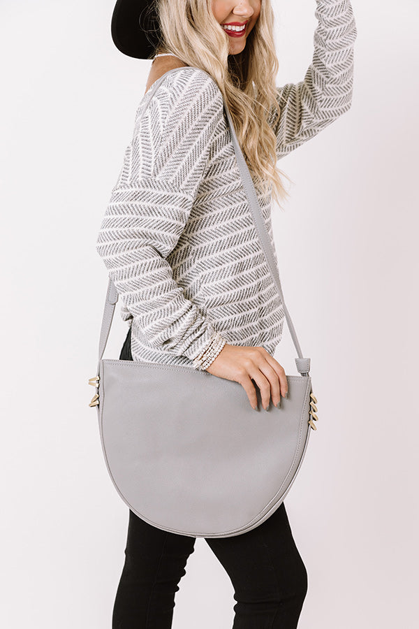 Cider Chic Faux Leather Crossbody In Grey