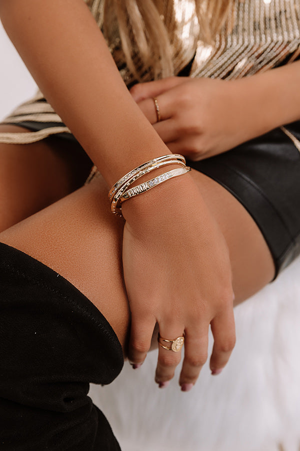 Selena Cuff Bracelet Set Of 3 in Gold