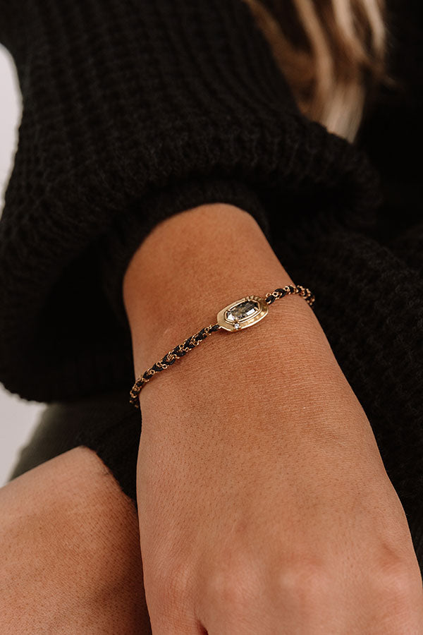 Anna Vintage Gold Friendship Bracelet in Black Pyrite