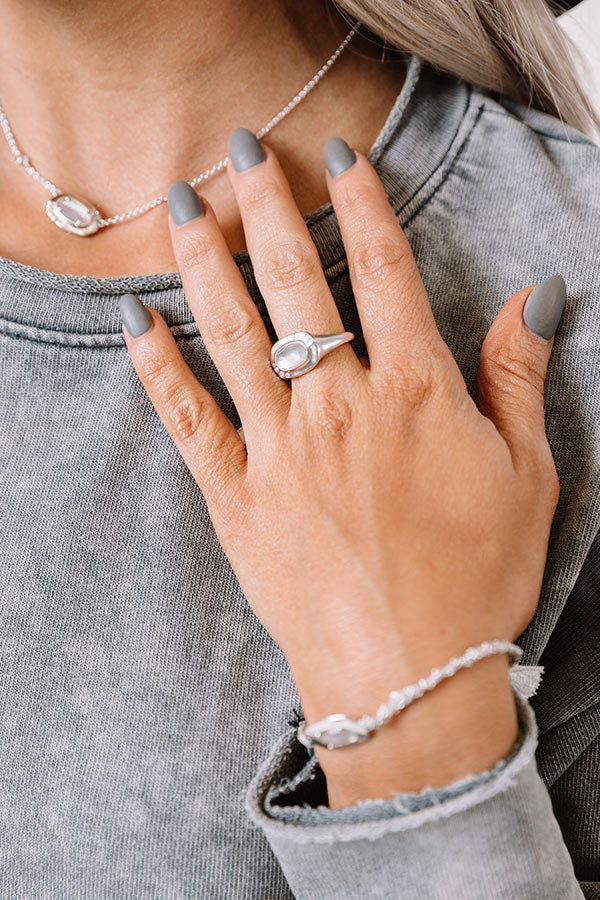 Anna Silver Band Ring in Grey Illusion