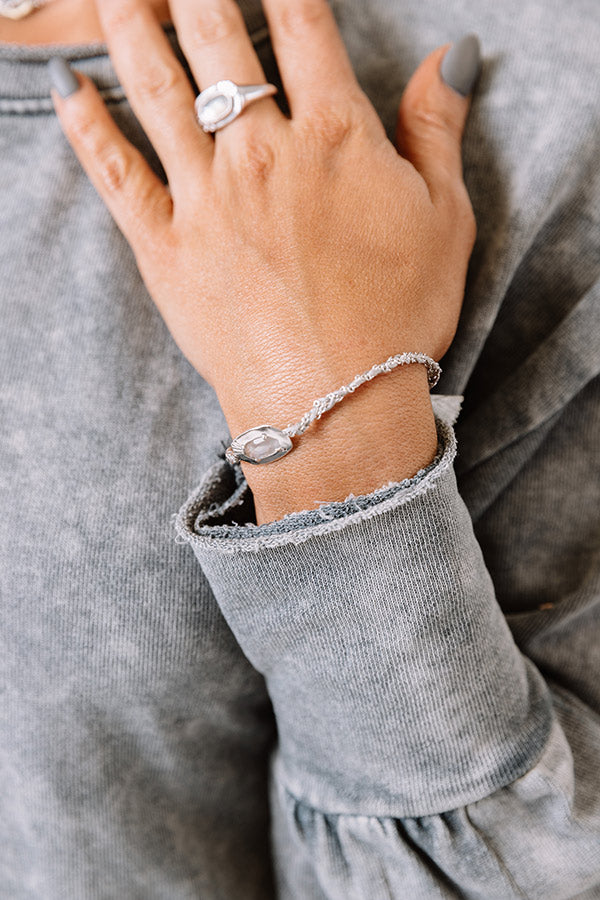 Anna Silver Friendship Bracelet in Grey Illusion