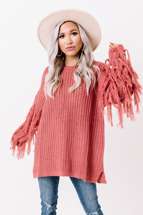 Fringe Life Knit Sweater In Rose