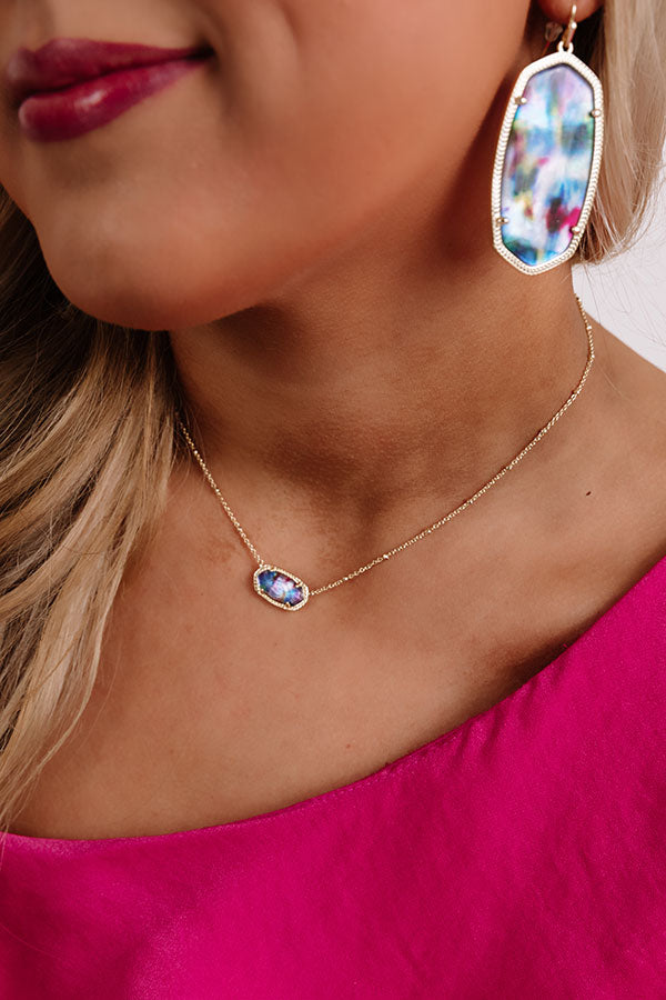 Elisa Gold Satelite Pendant Necklace in Teal Tie Dye Illusion