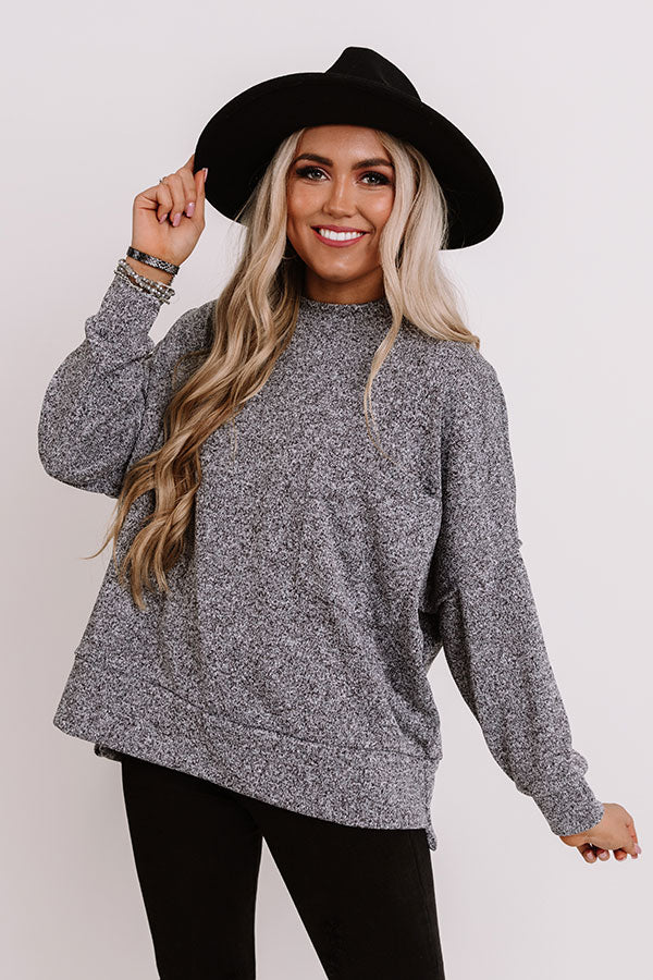 Cuddles On My Mind Knit Sweatshirt in Black