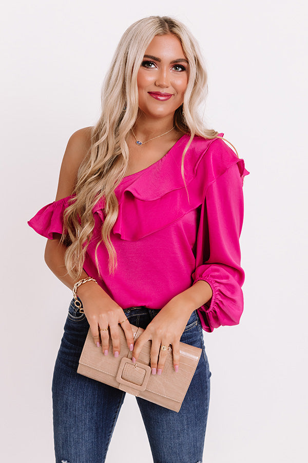 Upscale Night Ruffle Top In Fuchsia