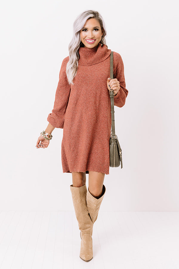 Cool Weather Crowd Sweater Dress In Aurora Red