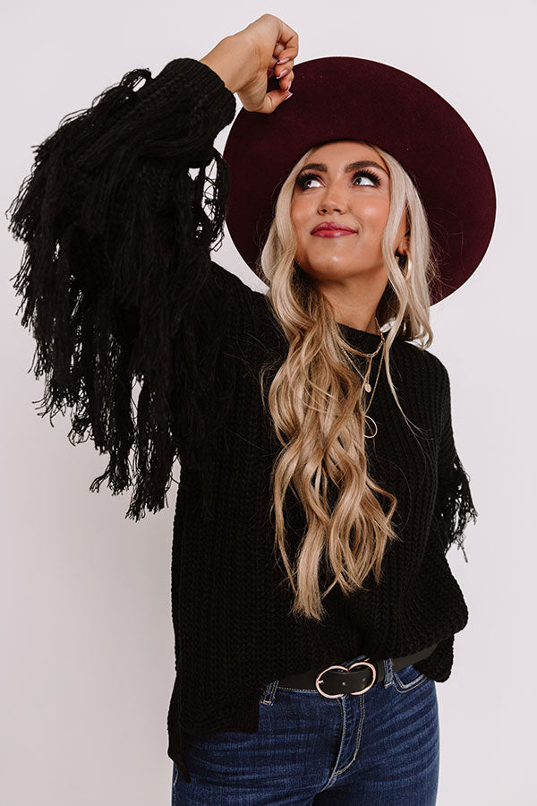 Fringe Life Knit Sweater In Black
