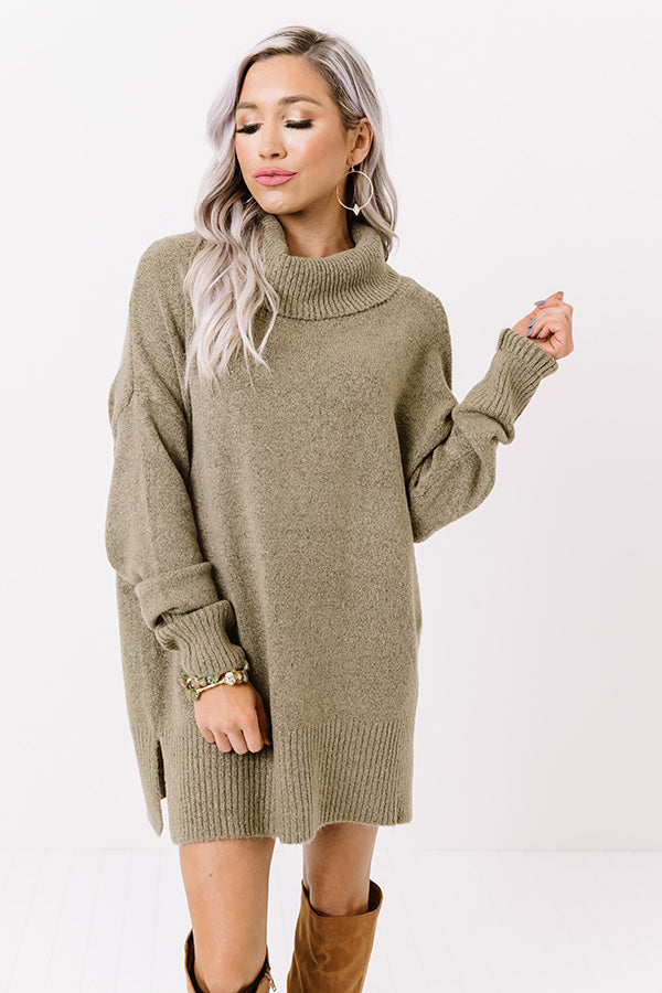 Aspen Road Trip Sweater In Martini Olive