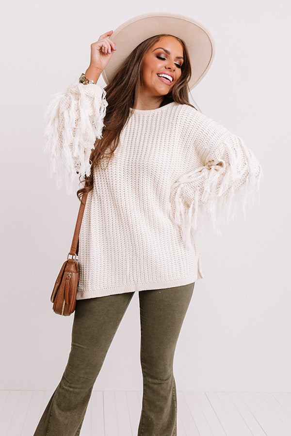 Fringe Life Knit Sweater In Ivory