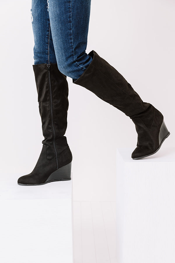 The Fawn Faux Suede Knee High Boot In Black