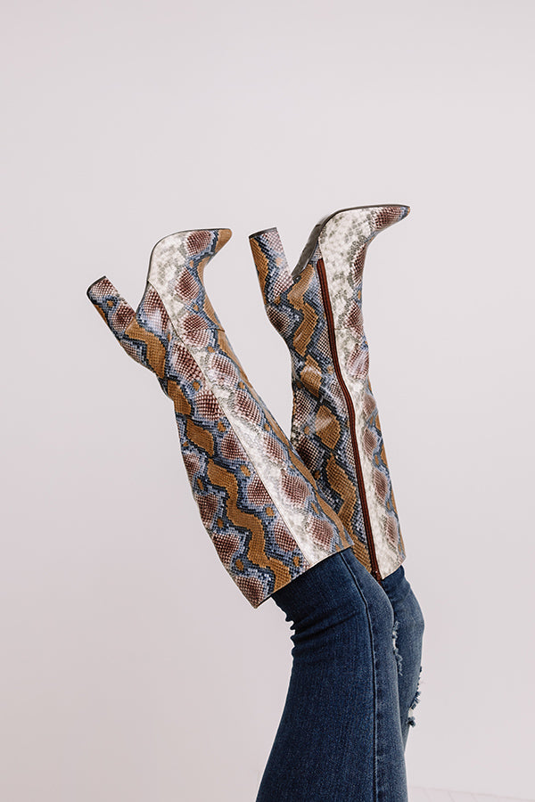 The Marsi Snake Print Knee High Boot