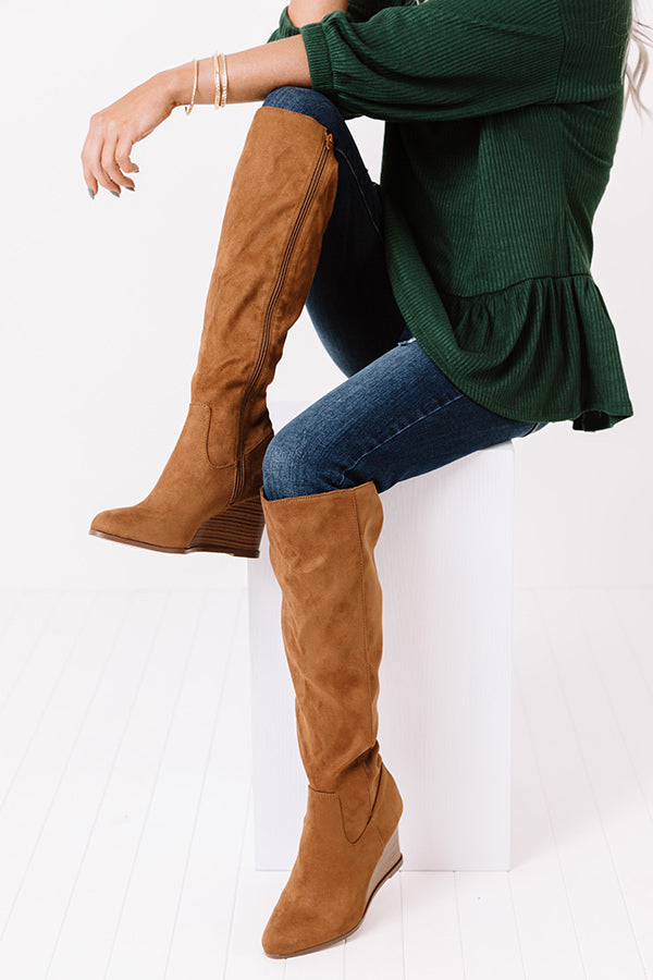The Fawn Faux Suede Knee High Boot In Brown