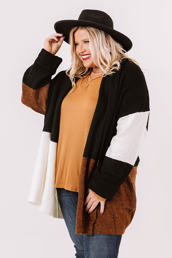 Hello, Harvard Colorblock Cardigan In Black