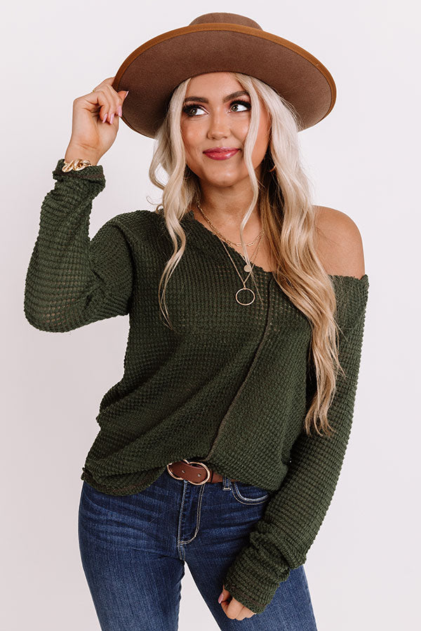 Haystack Waffle Knit Top In Olive