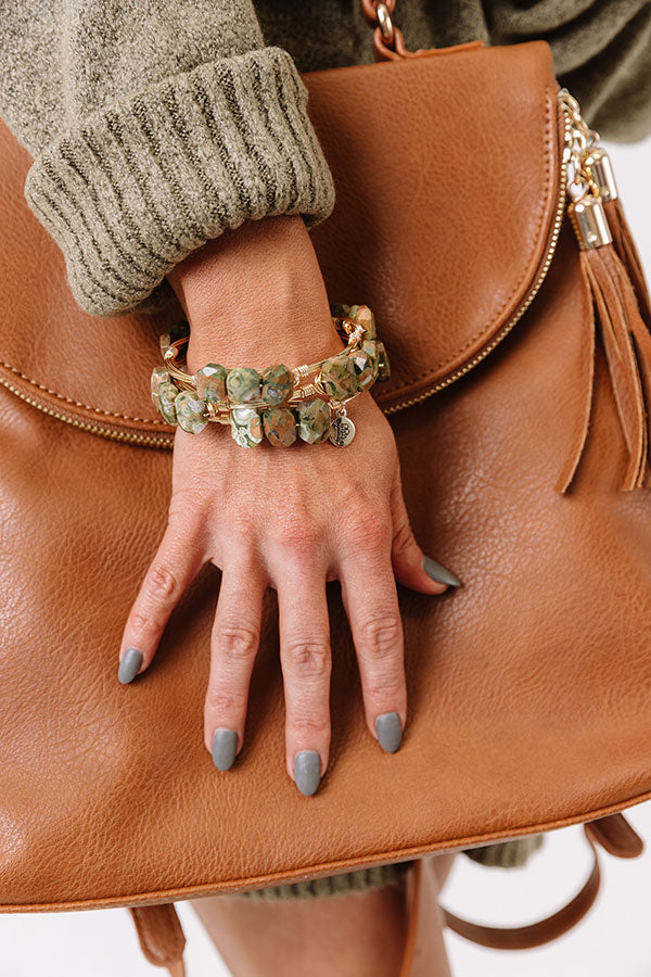 The Raven Bangle Bracelet in Sage