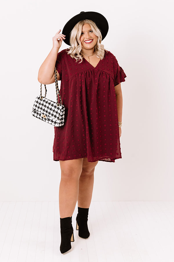 Fall Highlight Babydoll Dress In Wine