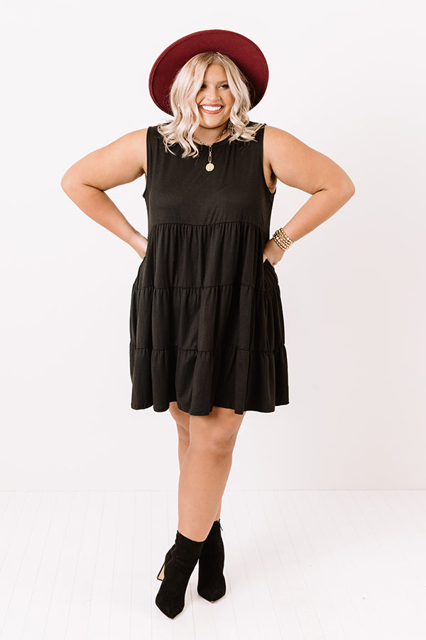 Apple Spiced Wishes Babydoll Dress In Black