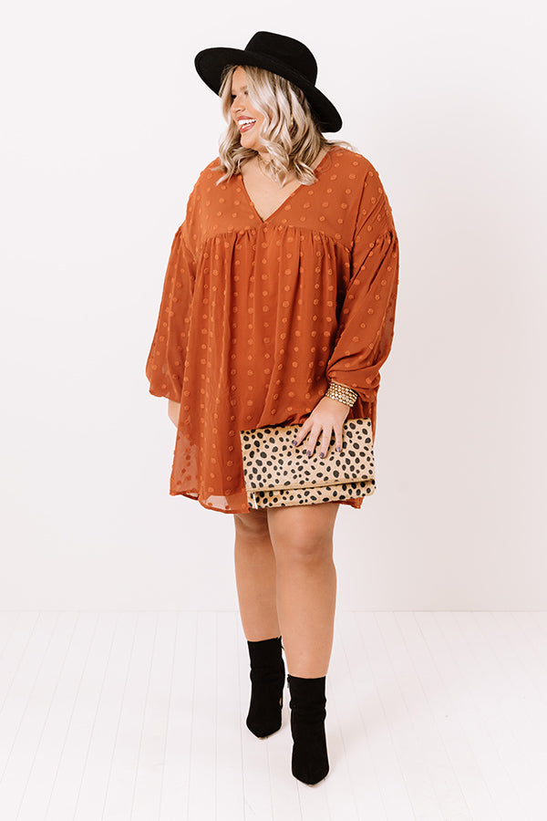 Spot On Babydoll Shift Dress In Pumpkin