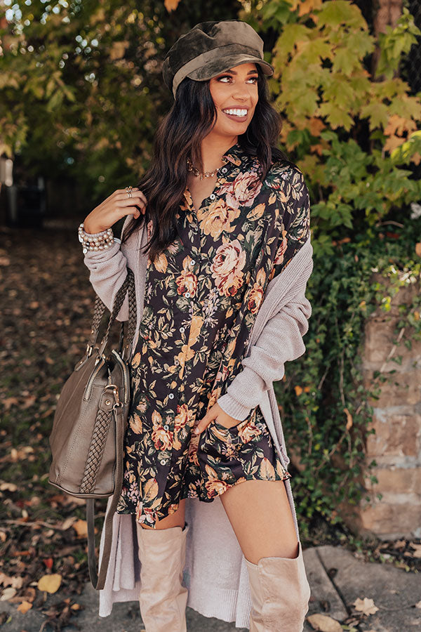 Pinot Noir Night Floral Tunic Dress