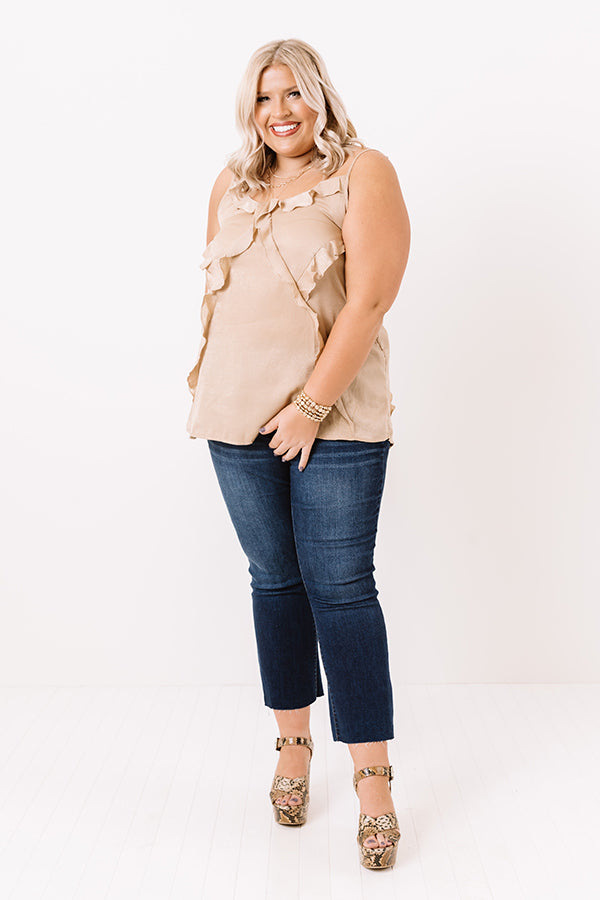 Broadway Beautiful Ruffle Top In Iced Latte