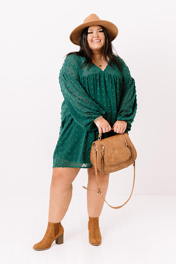 Spot On Babydoll Shift Dress In Hunter Green