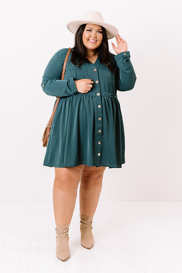 Talk Of The Town Shift Dress In Teal