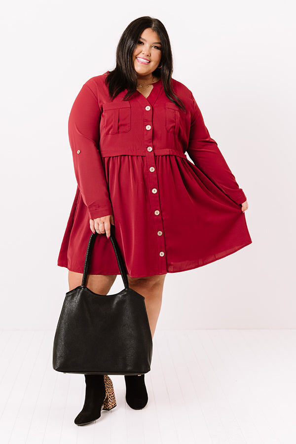 Talk Of The Town Shift Dress In Wine