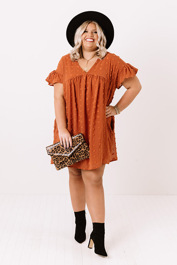 Fall Highlight Babydoll Dress In Rust