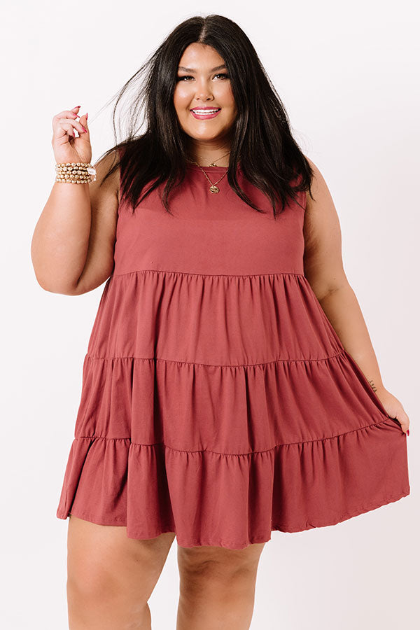 Apple Spiced Wishes Babydoll Dress In Sangria