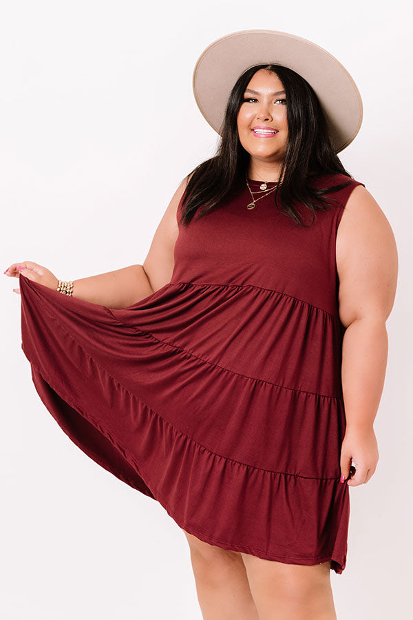 Apple Spiced Wishes Babydoll Dress In Wine