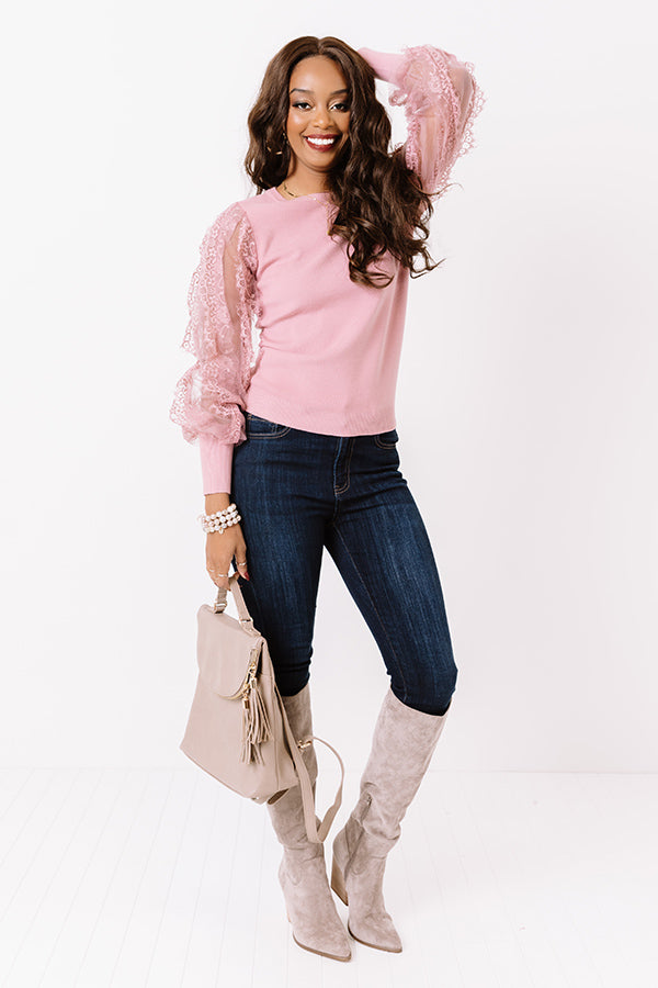 Fall Into My Kiss Sweater Top in Blush