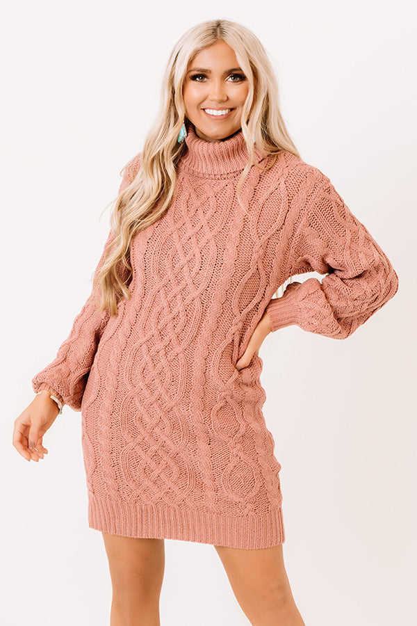 Next Chapter Cable Knit Sweater Dress In Blush