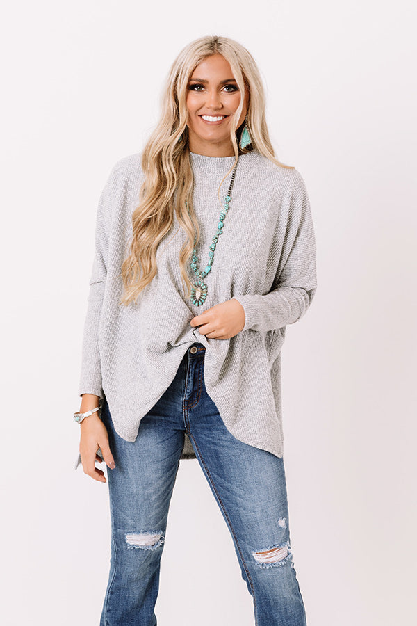 Cozy By The Tree Shift Tunic In Grey