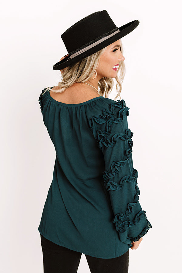 Sleek Socialite Shift Top in Dark Teal
