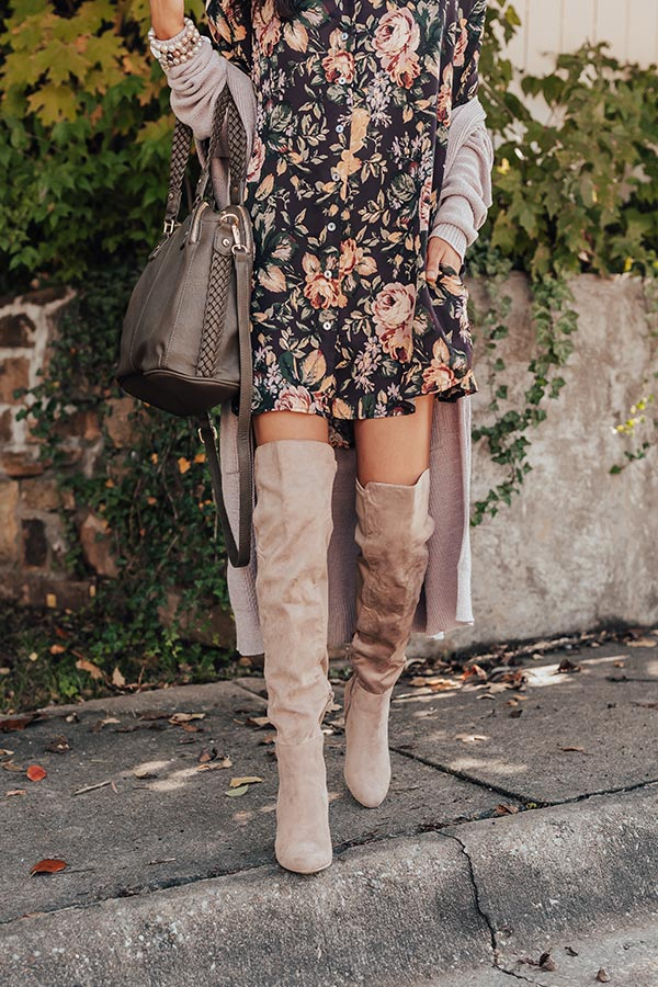 Canyons Over The Knee Faux Suede Boot in Taupe