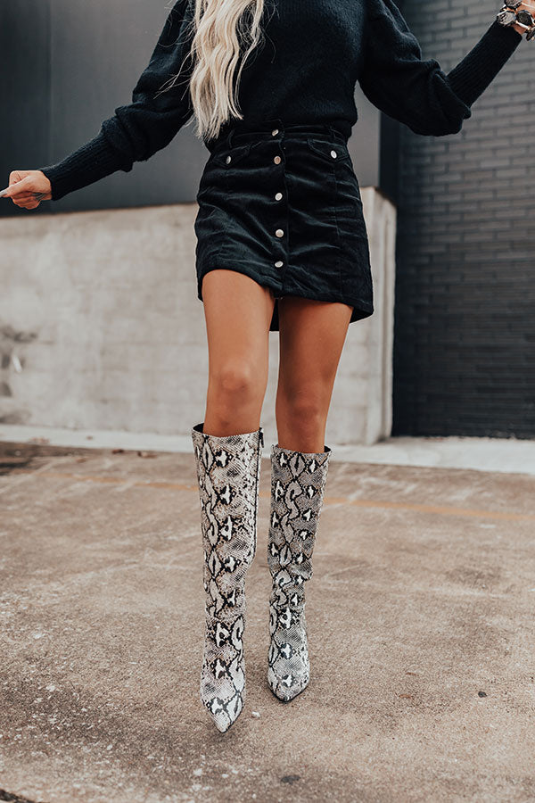 The Marsi Snake Print Knee High Boot In Black
