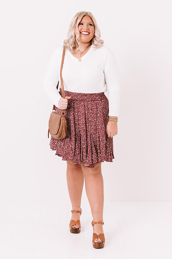 Wildest Wishes Leopard Skirt in Maroon