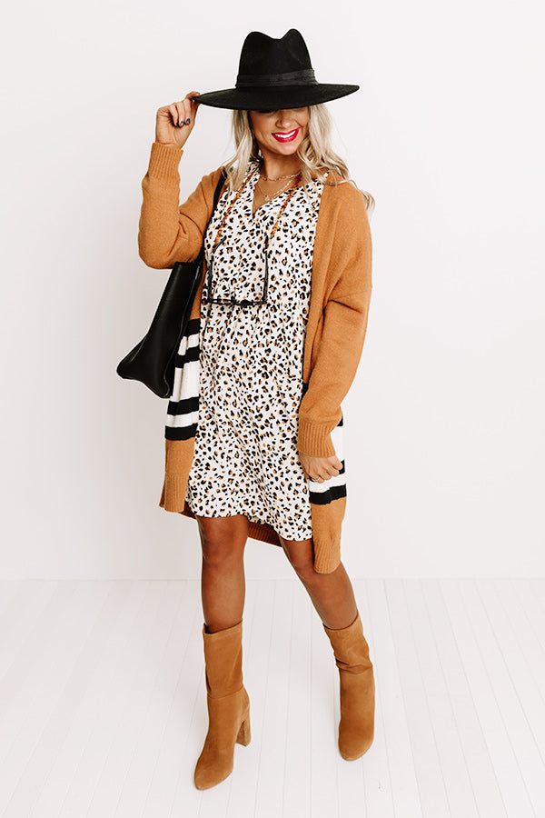 Lovely In Leopard Shift Dress in Cream
