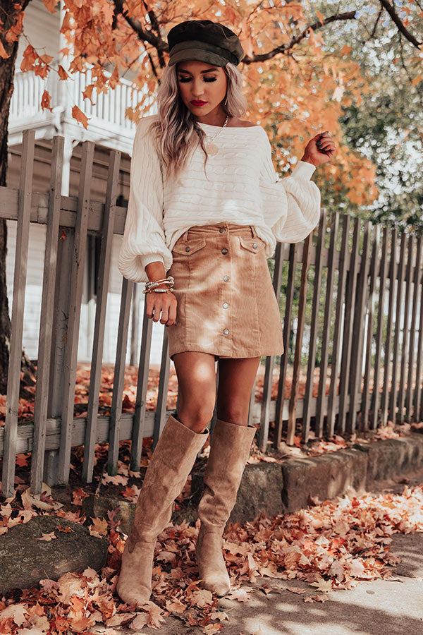 Pretty Fearless Corduroy Skirt In Iced Latte