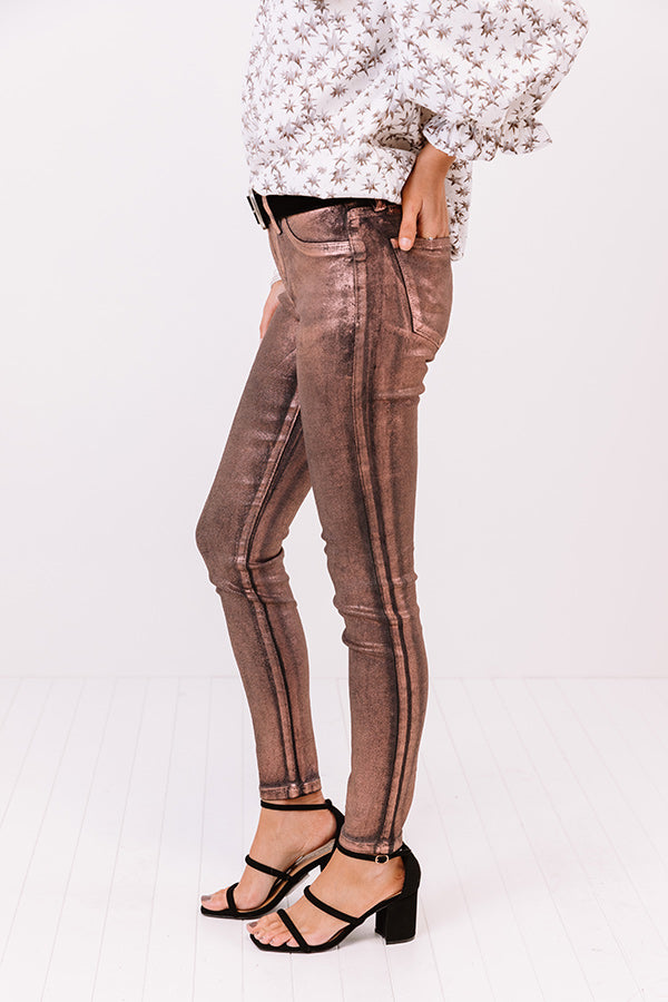 The Renner Midrise Metallic Skinny In Rust