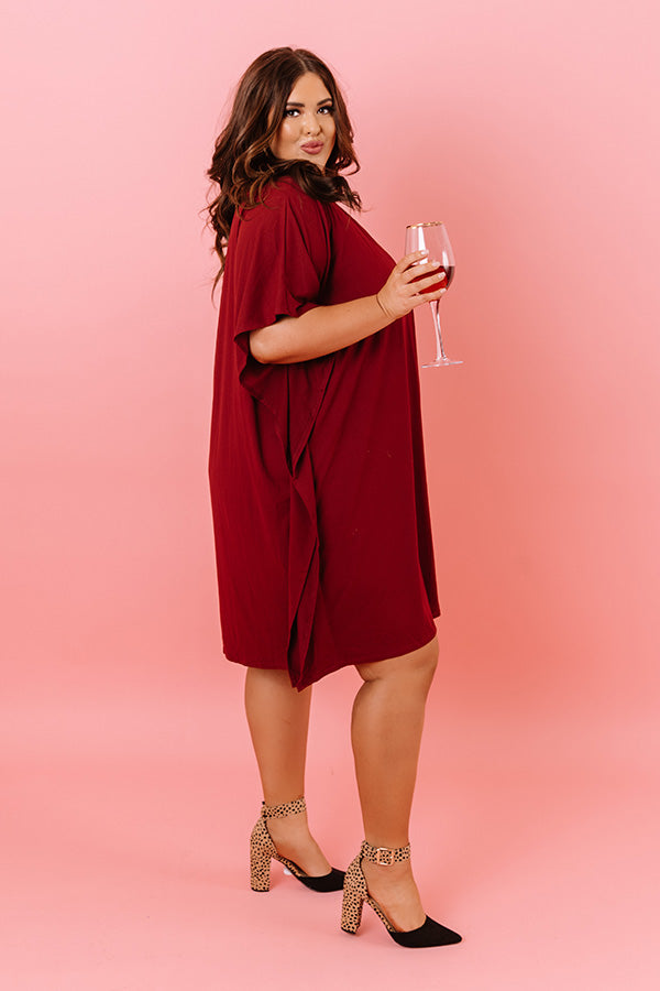 Chic Arrival Shift Dress In Wine