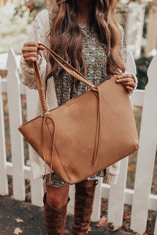 Chic Signal Faux Leather Tote In Tan
