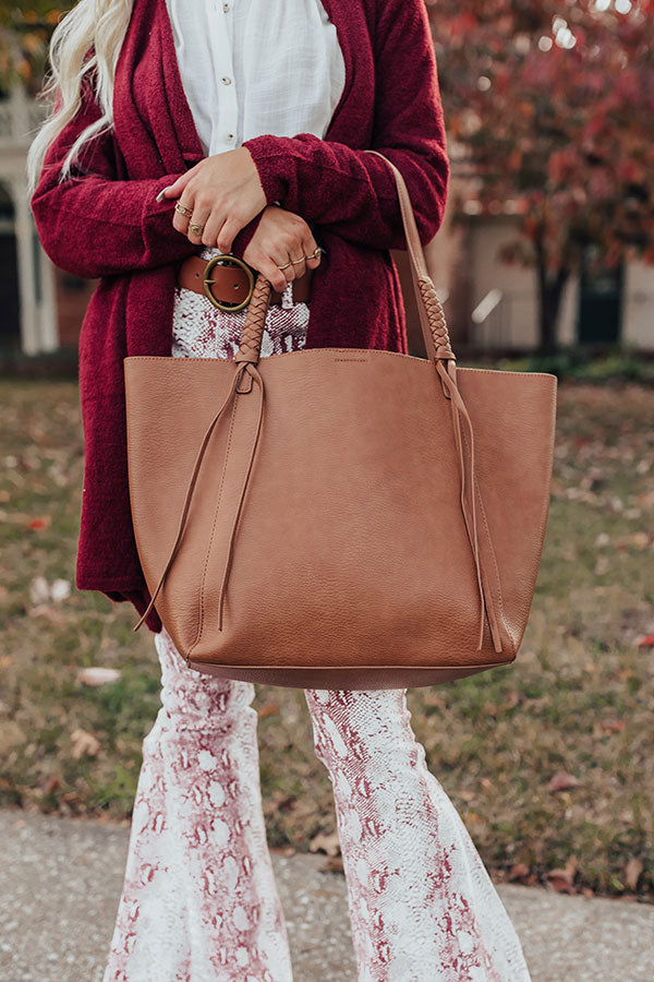 Chic Signal Faux Leather Tote In Brown