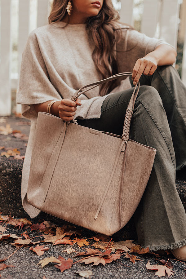 Chic Signal Faux Leather Tote In Taupe