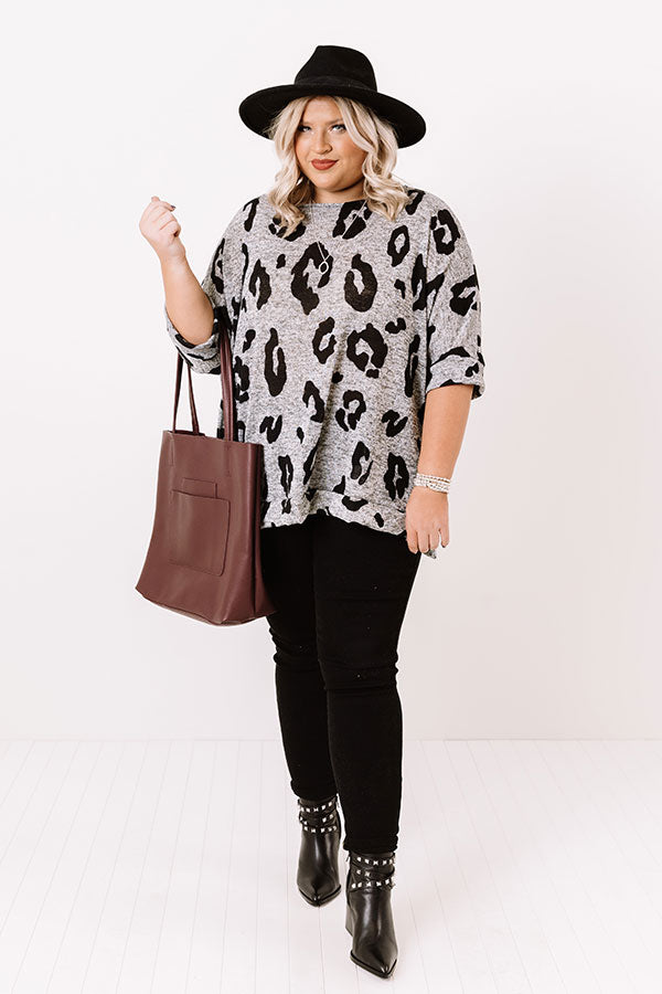Big Dreams Leopard Shift Top In Grey