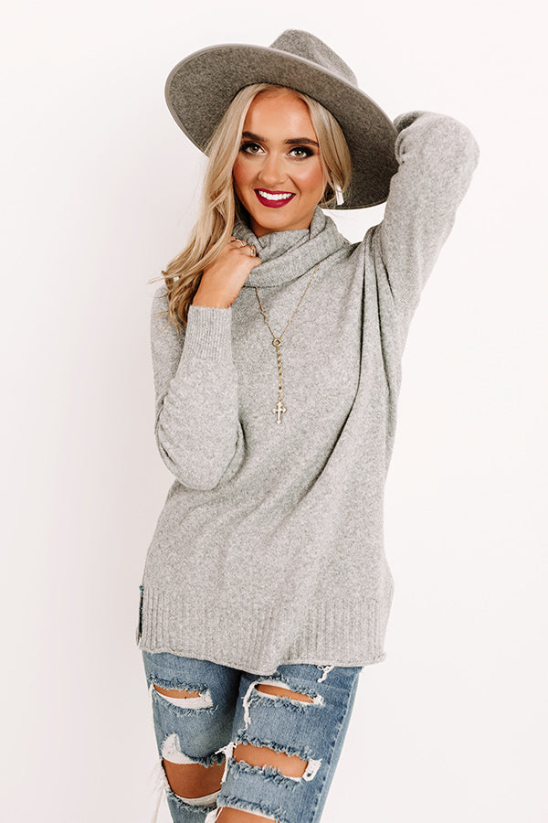 Carriage Ride Knit Sweater Top in Grey