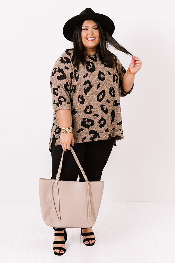Big Dreams Leopard Shift Top In Mocha
