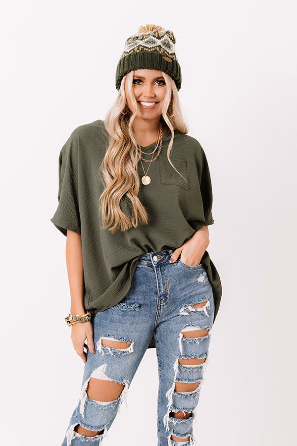 Weekend Picnic Shift Top In Olive