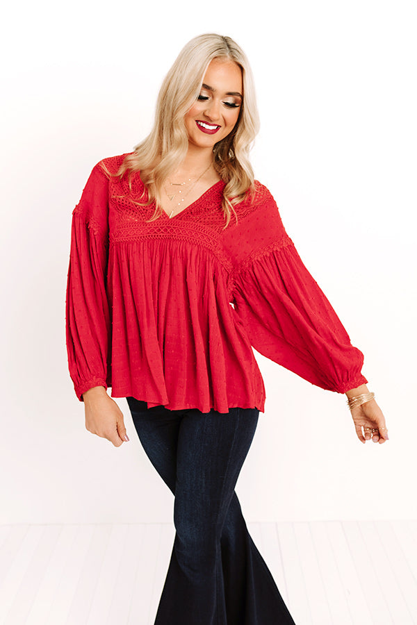 Lovely Novella Babydoll Top In Red