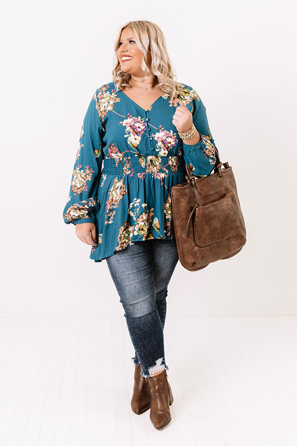 Happy Life Floral Top In Teal